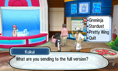 Speak to Professor Kukui to get Greninja transferred to the main game
