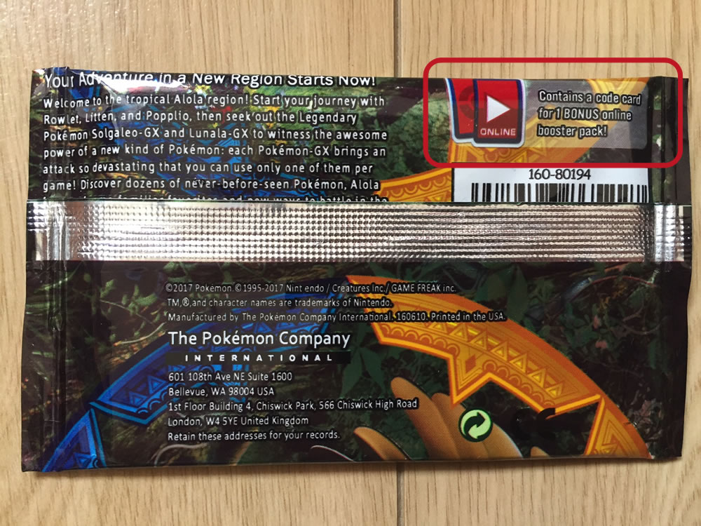 Fake Pokemon Booster Pack Back