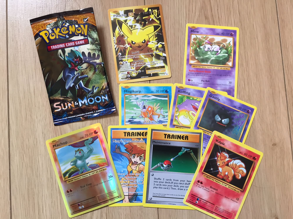 The cards from a fake Pokemon Sun & Moon Booster pack