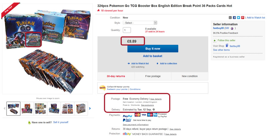 eBay seller selling fake Pokemon Cards