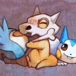 Cubone and Pachirisu by bluekomadori