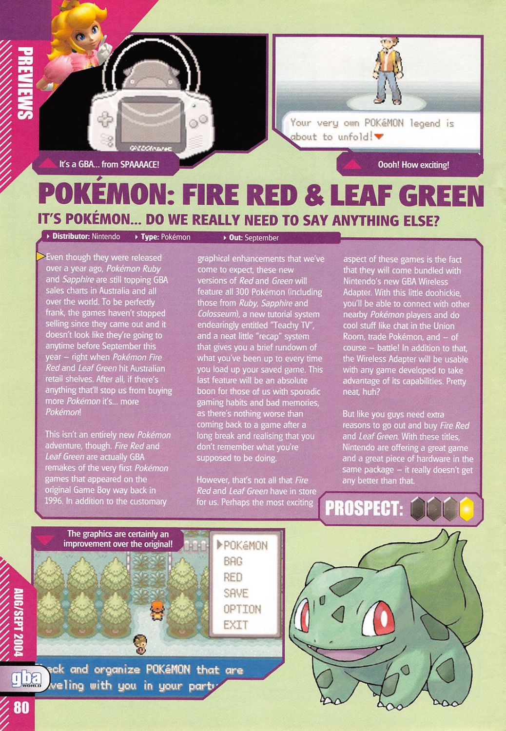 GBA World Issue 10 August 2004 Pokemon FireRed LeafGreen Preview PG1