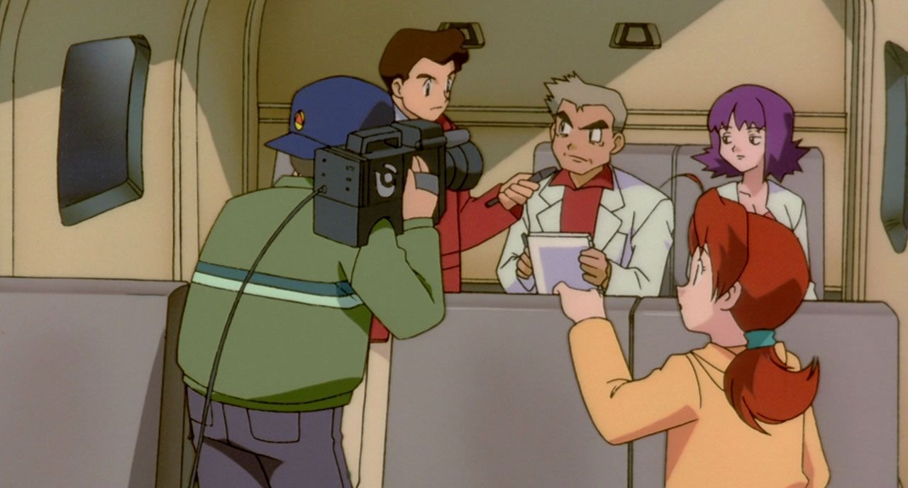 21 Professor Oak  Ivy and Delia being interviewed by the news crew