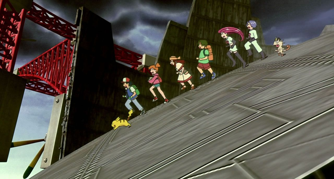 27 Ash and friends along with Team Rocket  escaping the stricken airship
