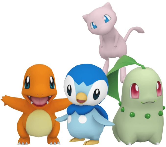Charmander, Piplup, Chikorita and Mew