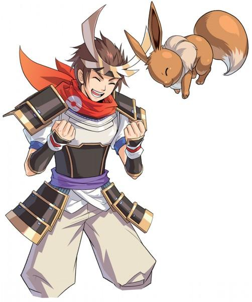 Pokemon Conquest Hero and his Eevee