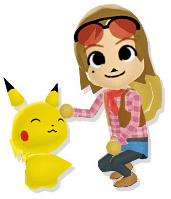 Hayley and a Pikachu in my Pokemon Ranch