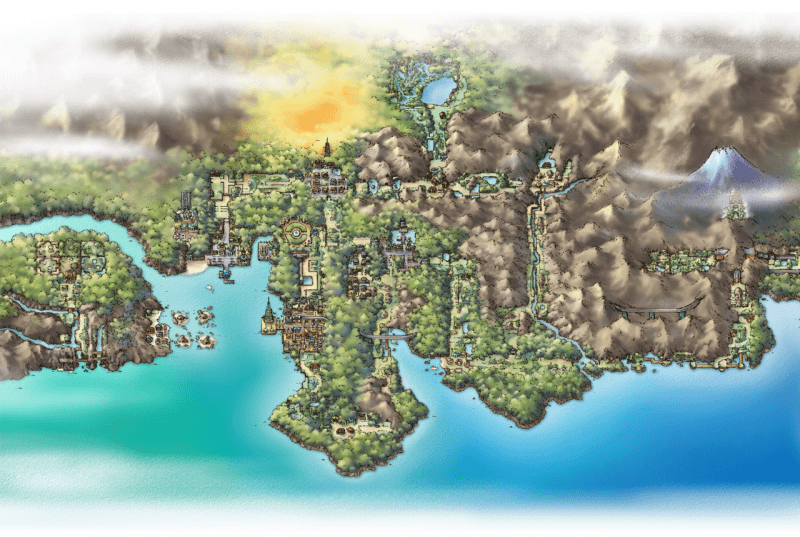 An artwork of the Johto region