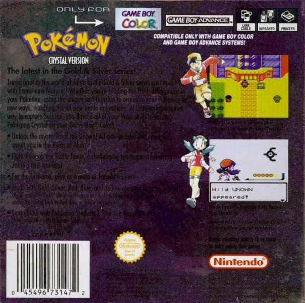au pokemon crystal version game boy color back cover