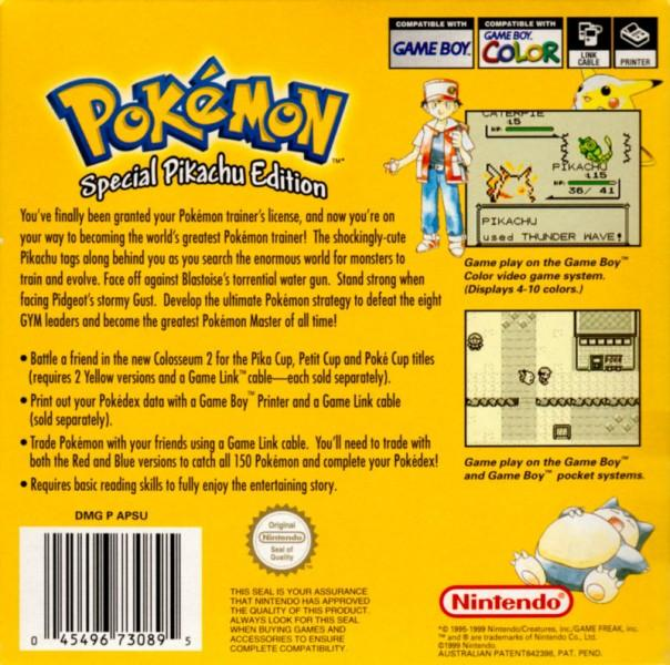 aunz pokemon yellow version special pikachu edition game boy back cover