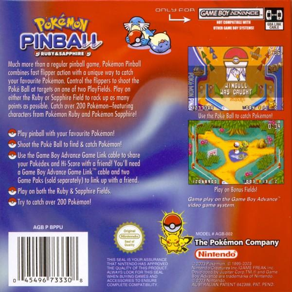 aus pokemon pinball ruby sapphire game boy advance back cover