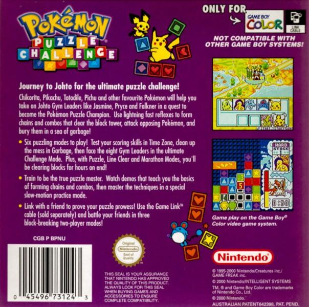 aunz pokemon puzzle challenge game boy color back cover