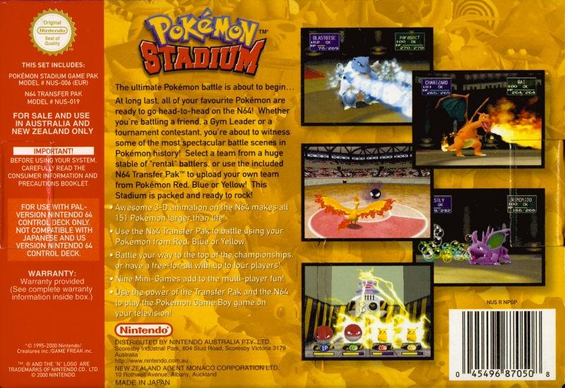 aunz pokemon stadium nintendo 64 back cover