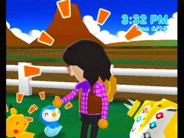 A Mii petting some Pokemon