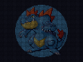 A pixellated wallpaper of Feraligatr