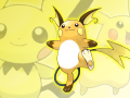 Raichu takes centre stage on a background of Pika