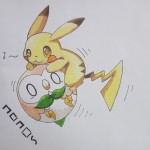 Pikachu mounting his dear friend Rowlet