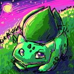 Bulbasaur on a moonlit hill