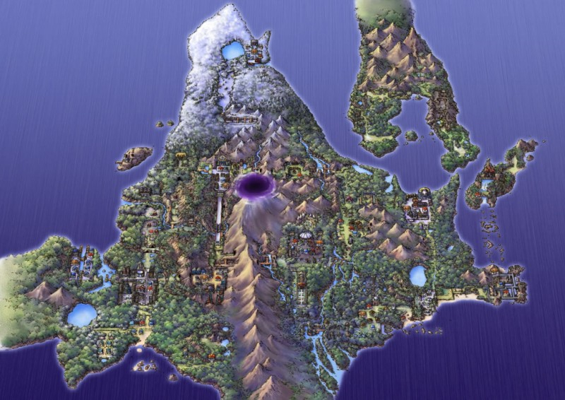 A map of the Sinnoh Region from the Pokémon Platinum Official Artwork