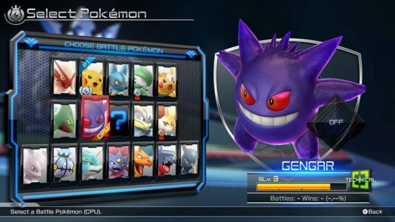 Pokken Tournament Battle Pokemon selection screen