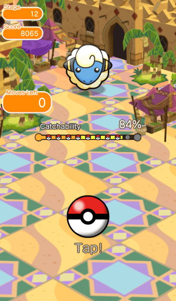Trying to catch Mareep after battle in Pokemon Shuffle