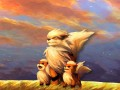 Arcanine with a pair of Growlithes in the wild